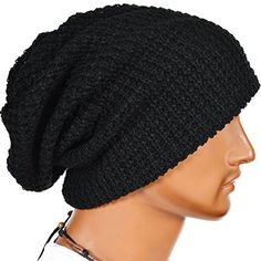 87fa969447d Mens Slouchy Long Beanie Knit Cap for Summer Winter Oversize (Black)