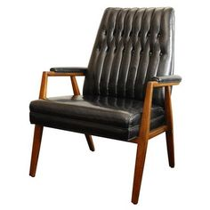 Anonymous; Wood and Leather Armchair by Monteverdi-Young, 1960s.