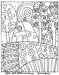 Karla Gerard Patterns by Hetty Van Gurp. A selection of whimsical folk art patterns created by artist, Karla Gerard. Doodle Art, Doodle Ideas, Doodle Inspiration, Design Inspiration, Colouring Pages, Coloring Books, Arte Elemental, Karla Gerard, Art Populaire