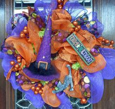 PURPLE WITCH'S HAT Halloween Wreath