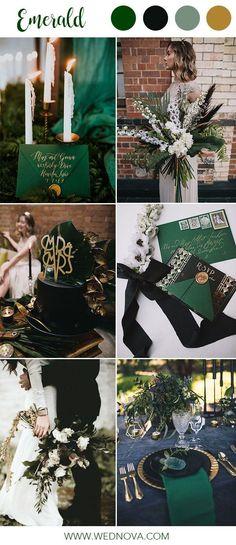 Emerald bridesmaid dresses wedding color palette black green fall winter wedding – color of life Emerald Wedding Colors, Emerald Green Weddings, Winter Wedding Colors, Fall Wedding, Christmas Wedding, October Wedding Colors, November Wedding, Emerald Color, Wedding Black