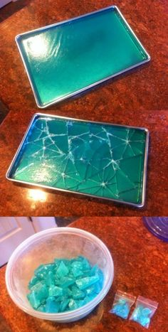 "Breaking Bad ""Rock Candy"" recipe -2 cups water -1 cup white corn syrup -3 1/2 cups sugar -1/4 tsp cream of tartar -1/4 tsp vanilla extract -3 drops of blue gel food coloring Boil the mixture and then continued stirring it on the heat until it reached 300 degrees F (use a candy thermometer to measure the temp). Poured it into a tray to cool. Hardens up in about an hour and then smash it to pieces."