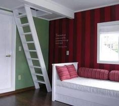 Stairs to attic loft.