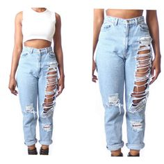 All SIZES High Waist Custom Made Destroyed Boyfriend Jeans Plus Sizes ($48) ❤ liked on Polyvore featuring jeans, bottoms, pants, pantalones, high-waisted jeans, plus size ripped jeans, high-waisted boyfriend jeans, plus size distressed jeans and ripped jeans