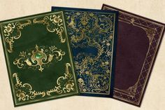 Creative Flyer Design, Creative Flyers, Book Cover Background, Traditional Books, Medieval Books, Gold Book, Vintage Book Covers, Green Books, Book Cover Design