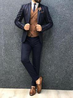 Marc Navy Striped with Brown Vest Formal Dresses For Men, Dress Suits For Men, Formal Men Outfit, Blazer Outfits Men, Stylish Mens Outfits, Mens Tailored Suits, Mens Suits, Slim Suit, Indian Men Fashion