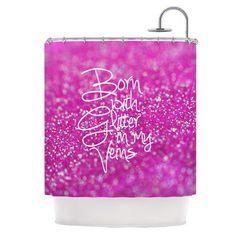 KESS InHouse Born with Glitter Shower Curtain