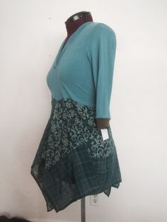 Upcycled knit top with paisley print skirt