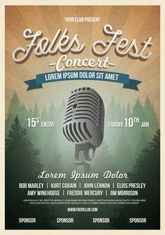 Folk Fest Flyer Template PSD