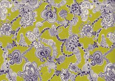 Kokka Fabrics  Daisy Chain  Chartreuse Modern Damask