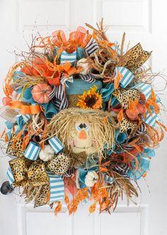 Summer Door Wreaths, Diy Fall Wreath, Wreath Ideas, Easy Fall Wreaths, Wreath Crafts, Holiday Wreaths, Holiday Decor, Scarecrow Face, Scarecrow Wreath