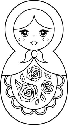 Matryoshka Doll Patterns Free | Matryoshka Doll Coloring Page. For crafts, quilting or sewing.