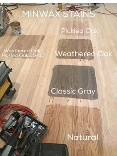 MINWAX stain for vanity- combo of Weathered Oak/Classic Gray Hardwood Floor Stain Colors, Minwax Stain Colors, Refinishing Hardwood Floors, Staining Cabinets, Oak Hardwood Flooring, Oak Stain, Floor Refinishing, Painting Hardwood Floors, Oak Floor Stains