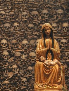 Skull Cathedral in Otranto.  In 1480AD, Muslim invaders martyred 800 residents of the town of Otranto, Italy. Their remains were taken to the cathedral and the bones were arranged behind the altar as testament to their faith.