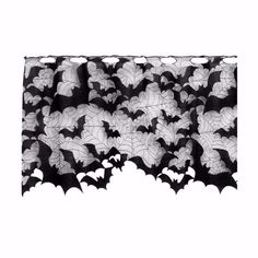 Enter the bat cave. This versatile drape is covered in bats for your to decorate anywhere your heart desires. Use it as a lamp shade cover, a mantle scarf or curtains. - Use as Window Valance, Mantle Scarf or Lamp Shade Cover - Rod Slot Hanging Design - M Halloween House, Halloween Fun, Halloween Decorations, Halloween Bedroom, Adornos Halloween, Manualidades Halloween, Home Decor Accessories, Decorative Accessories, Gothic Bedroom