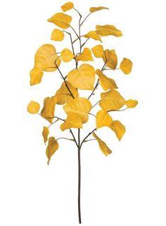 Artificial Aspen Leaf Spray in Yellow Gold