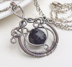 Oxidized silver necklace, jet black necklace, wire wrap jewelry, gothic black chalcedony necklace, wire wrapped necklace. $105.00, via Etsy.