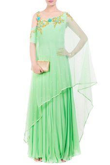 Lime Green Drop Shoulder Drape Dupatta Set by Anushree Agarwal, Ethnic Gowns #indowestern #ethnicwear #ethnic #fusion #western #wedding #shopping #weddingseason #online #bff #bestfriend #bffswedding #cocktail #sangeet #reception #dance #elegant