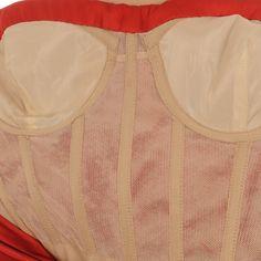 Corselet with cups. CG 738 OSCAR DE LA RENTA Red Silk Corset Dress