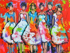 Dit is een: Acrylverf op doek, titel: 'Klaar voor het feest rood' kunstwerk vervaardigd door: Liz