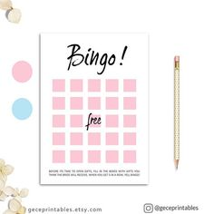 Printable Baby Shower Bingo Game: Bridal Shower Bingo Party, Pink, Blue, Cute, Girly