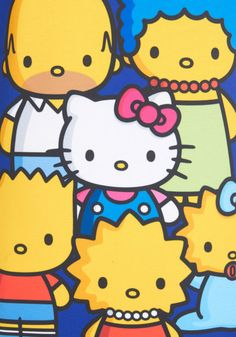 Simpsons meet Hello Kitty Colorful Cats of Characters Top Hello Kitty Art, Hello Kitty Themes, Sanrio Hello Kitty, Little Twin Stars, Sailor Scouts, Geeks, Hello Kitty Imagenes, Hello Kitty Pictures, Hello Kitty Collection