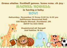 BABY BOY SHOWER Invitation Jungle Safari Zoo Animals & Sports Basketball Baseball Soccer Football. $11.00, via Etsy.