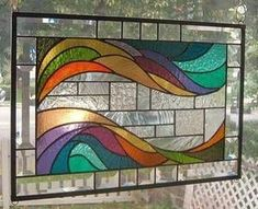 stained glass waves | Waves OF Color Stained Glass Window Panel Signed AND Dated | eBay
