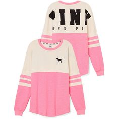 Victoria's Secret Varsity Crew ($50) ❤ liked on Polyvore featuring tops, shirts, sweaters, pink, victoria's secret, victoria secret pink shirts, pink oversized shirt, pink shirt, oversized shirt and pink top