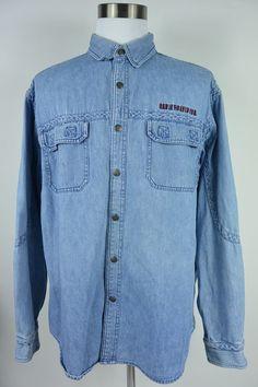 Harley Davidson XL Denim Cotton Blue Snap Button Embroidered Shirt Mens #217 #HarleyDavidson #ButtonFront