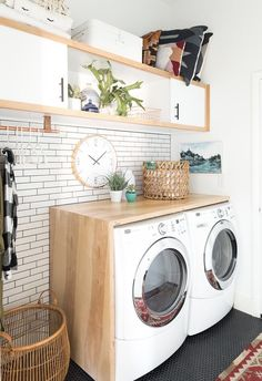 Laundry room butcher block countertops salvaged cabinets in