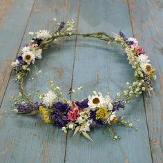 Festival Meadow Dried Flower Hair Crown by EnglishFlowerFarmer - nice veil alternative :)