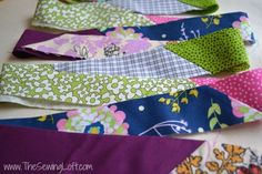 Turn leftover fabric scraps into quilt binding. How to make scrap binding. The Sewing Loft