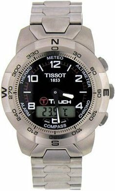 Tissot Men's T33778851 T-Touch Titanium Watch Tissot. $626.66. Easy to use - Activate by pressing on the crown and the touch-screen. Case Diameter - 41.5 mm; Crystal - Tactile Scratch-Resistant Sapphire. Touch-screen technology with 8 separate functions:  Altimeter, Chrono, Compass, Alarm, Thermometer, Barometer (Meteo), and Date and Time. Precise Swiss-Quartz movement. Water-resistant to 99 feet (30 M)