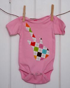 FREE SHIPPING // Baby Girls Clothing // Girls Pink Onesie with an Argyle Guitar Applique // Size 6-12 months // Baby Girl Clothes on Etsy, $15.00