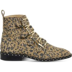 Office Amsterdam leopard-print stud-detail ankle boots ($97) ❤ liked on