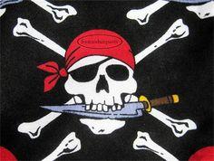 Pirate shorts 2 pockets, skull crossbones, striped singlet, 3 to 4 years Boy