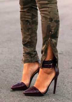 Chic Camo Skinny Zipper Jeans, 2013 Soldier Camo Jeans, Camouflage Print Thigh Jeans