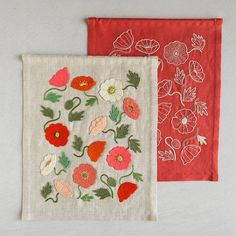 The insouciant beauty of poppies is nothing if not uplifting! Our Poppy Garden Embroidery Kit taps into the wild whimsy of these wonderful flowers with two totally different Samplers, each based on the same beautiful design. Tap the image to learn more! Garden Embroidery, Hand Embroidery Projects, Embroidery Bags, Embroidery Stitches, Embroidery Patterns, Sewing Art, Sewing Crafts, Learning To Embroider, Stitch Witchery