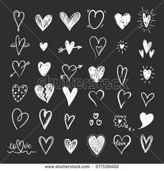 Image vector for funny doodle hearts icons collection hand 577108402 Chalkboard Doodles, Chalkboard Writing, Chalkboard Designs, Wedding Chalkboard Art, Chalkboard Drawings, Valentine Doodle, Valentines Day Drawing, Funny Doodles, Love Doodles