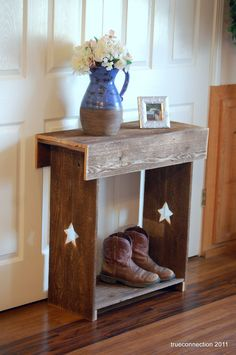 Console Table. Stars Reclaimed Wood Wall Runner. Shoe Storage TV Stand. Lamp Table. Farm House Table Rustic Furniture Primitive Table. $230.00, via Etsy.