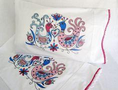 Pair Bed Pillow Cases. Love Birds. Hand Painted Pillow case. Cotton Pillow Case. Bed Linen. Folk Art Birds. Pillow Cover. Bird pillows by JoLArtsDecor on Etsy