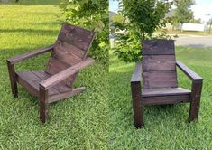 2x4 DIY Adirondack Chair - Perfect For Your Patio, Backyard Or Fire Pit! Thousands have made this chair and LOVE IT! If you are looking for the perfect outdoor chair for your pool, campfire, fire pit, or cabin retreat, this easy-to-make 2x4 DIY Adirondack chair is for you! 2x4 Modern Adirondack Comfortable Outdoor Chairs, Modern Outdoor Chairs, Adirondack Chair Plans, Wooden Adirondack Chairs, Backyard Chairs, Wood Lumber, Pallet Patio Furniture, Chair Pictures, Diy Chair