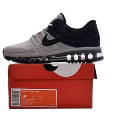super popular ac237 0a29c Nike Air Max 2017 Men Black Grey Running Shoes Cheap Running Shoes, Running  Shoes Nike