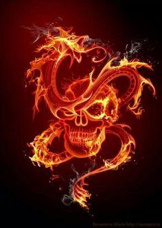 Dragon y calavera de fuego