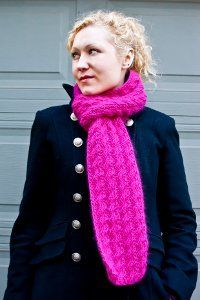 Pretty in Pink Cable Lace Scarf | AllFreeKnitting.com