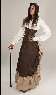 #Steampunk Victorian Full Length Persephone Bustle Skirt Khaki/Brown - Buy New: $98.00