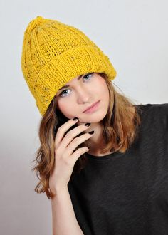 yellow hat yellow beanie yellow knit hat by Isabellwoolstudio
