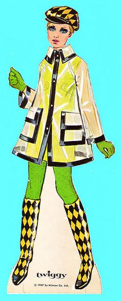 This may be a paper doll ad, but I actually had that clear raincoat and matching umbrella in high school.
