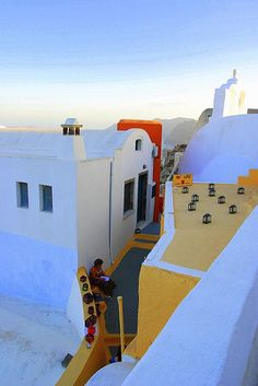 the silent power of colors in Oia, Santorini island, Greece Mykonos, Oia Santorini, Santorini Island, Places Around The World, Oh The Places You'll Go, Places To Travel, Places To Visit, Greece Travel, Greek Islands